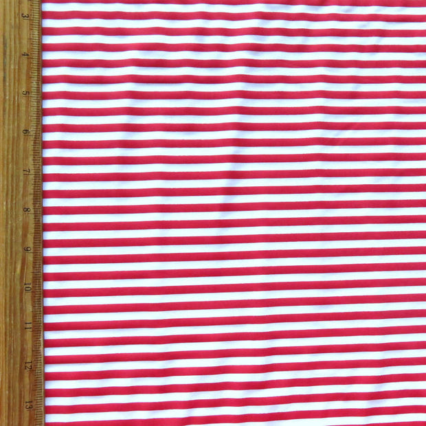 "Red and White 1/4"" Stripe Nylon Spandex Swimsuit Fabric"