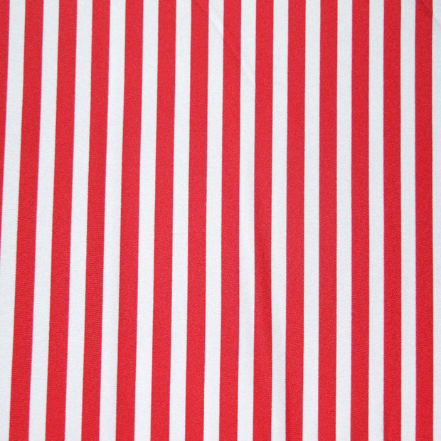 Red and White Shiny Vertical Stripe Nylon Spandex Swimsuit Fabric