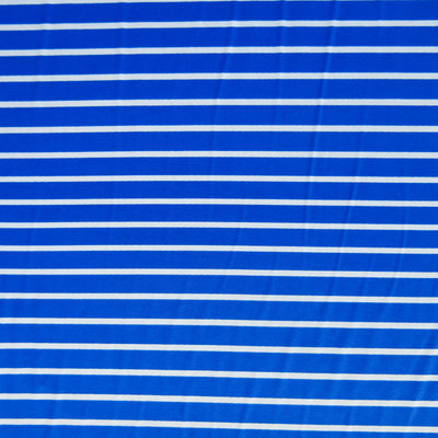 Royal and White Narrow Stripe Nylon Spandex Swimsuit Fabric