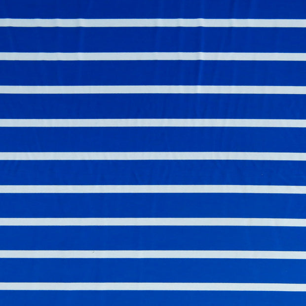 Royal and White Wide Stripe Nylon Spandex Swimsuit Fabric
