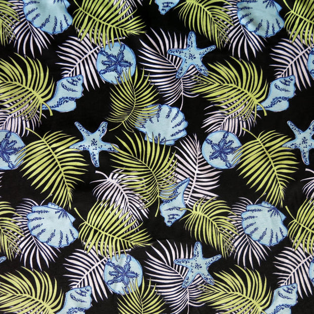 Shells and Palm Fronds on Black Cotton Knit Fabric
