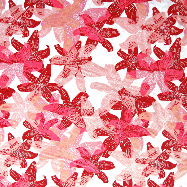 Shades of Red Lilies Cotton Knit Fabric