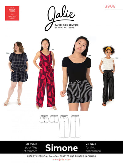 Simone Wide-Leg Shorts and Pants Sewing Pattern by Jalie