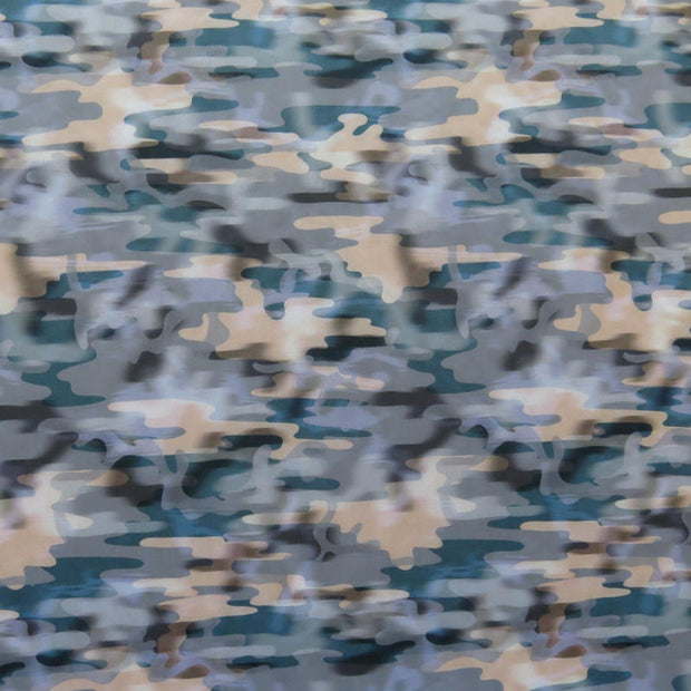 Stormy Camo Nylon Spandex Swimsuit Fabric, Light Colorway