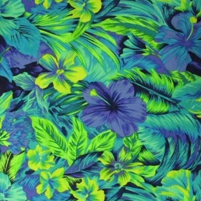 Tahitian Floral Periwinkle/Lime Nylon Spandex Swimsuit Fabric