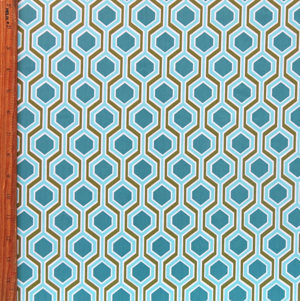 Teal/Olive Geo Nylon Spandex Swimsuit Fabric