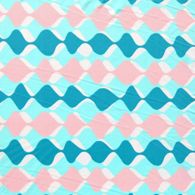 Teal/Pink Geo Waves Nylon Spandex Swimsuit Fabric