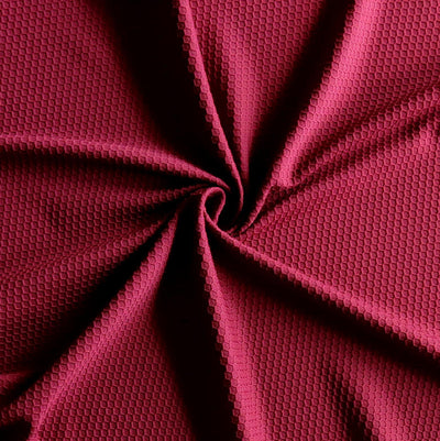 Team Maroon Dri-Fit Hexagon Jacquard Lycra Jersey Knit Fabric