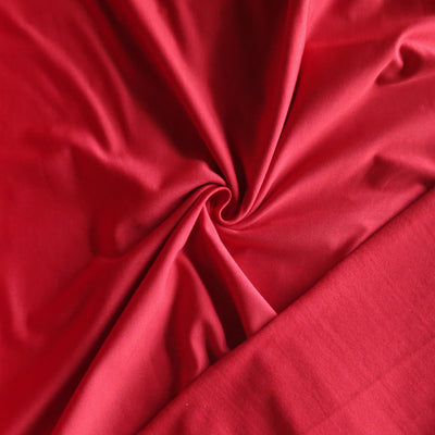 Tomato Red Poly Lycra Fleece Back Knit Fabric