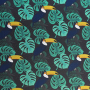 Toucans and Monstera Leaves Poly Spandex Swimsuit Fabric