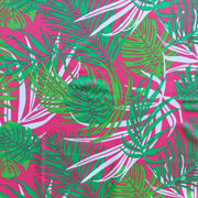 Tropical Leaves on Pink Nylon Spandex Swimsuit Fabric
