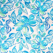 Turquoise and Mint Large Floral Cotton Knit Fabric
