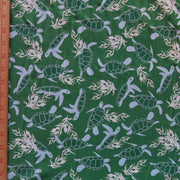 Turtles on Green Nylon Spandex Swimsuit Fabric