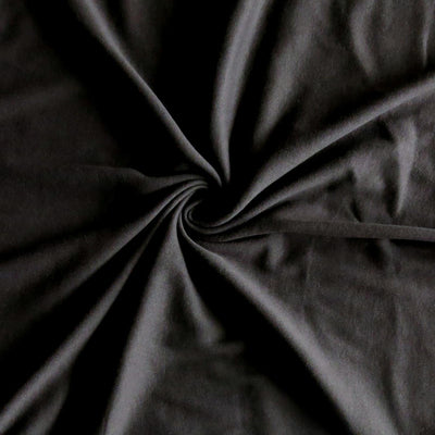 Very Dark Brown Cotton Rib Knit Fabric
