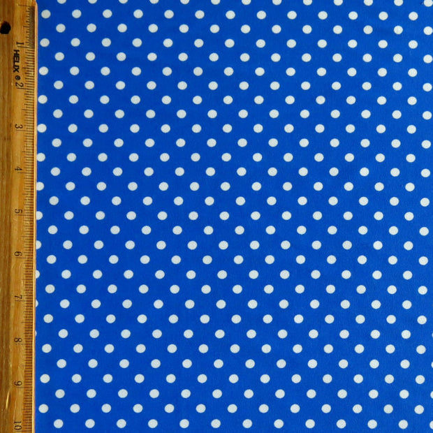 White Eraser Polka Dots on Royal Nylon Spandex Swimsuit Fabric