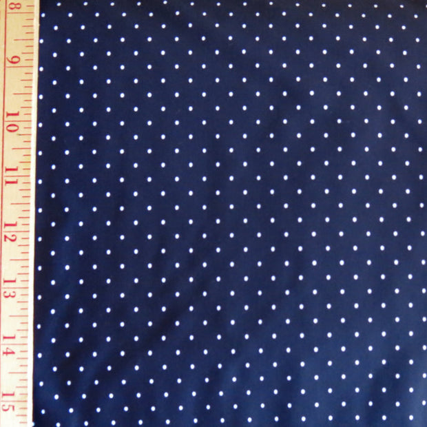 White Pindots on Navy Nylon Spandex Swimsuit Fabric