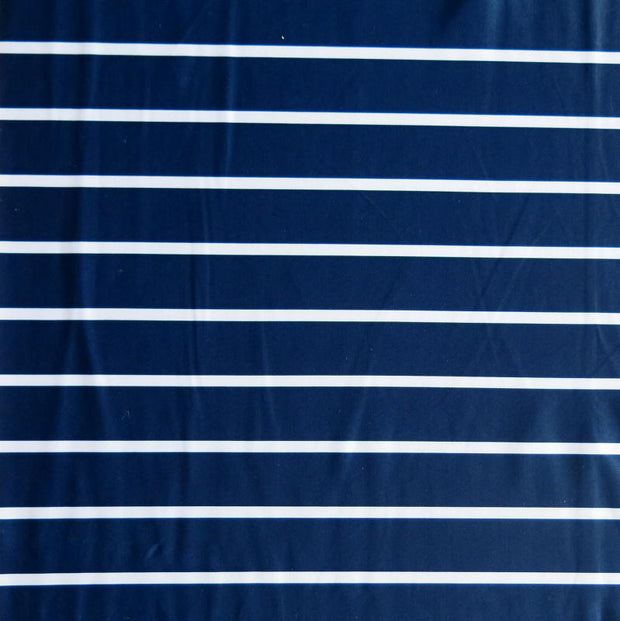 "Navy 1"" and White 3/8"" Stripe Nylon Spandex Swimsuit Fabric"