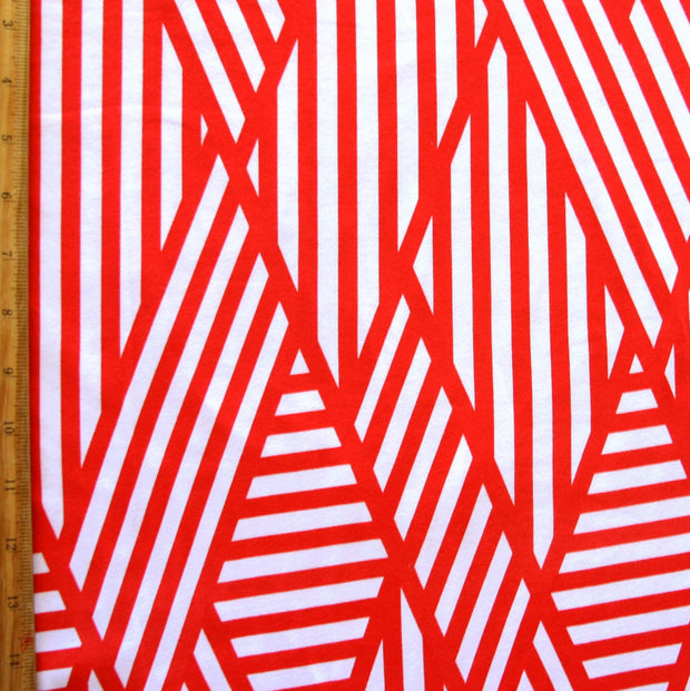 Abstract Block Stripe Cotton Lycra Knit Fabric, Red Colorway