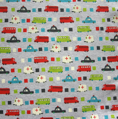 Ambulance, Police Cars, and Fire Trucks on Heathered Grey Cotton Knit Fabric