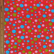 Aqua, Lime, and Pink Bubble Dots on Red Cotton Spandex Knit Fabric