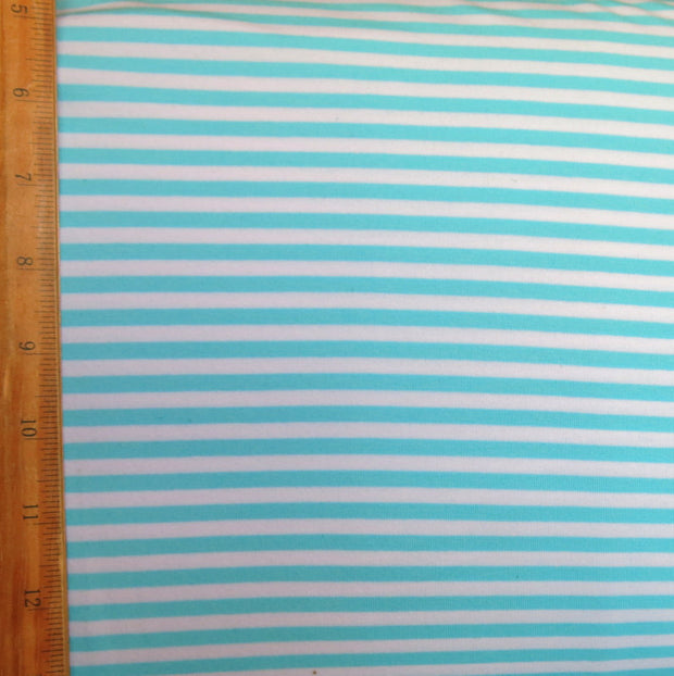 "Aqua and White 3/16"" wide Stripe Cotton Lycra Knit Fabric"