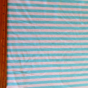 "Aqua and White 3/8"" wide Stripe Cotton Lycra Knit Fabric"