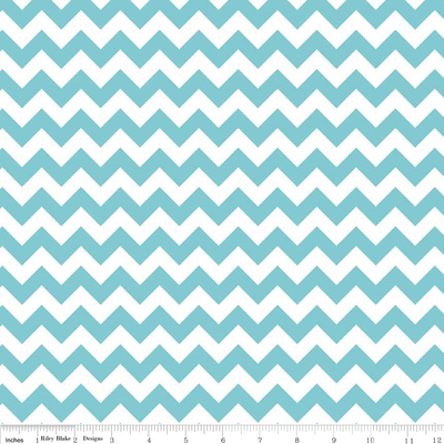 Small Chevron Aqua and White Cotton Lycra Knit Fabric by Riley Blake