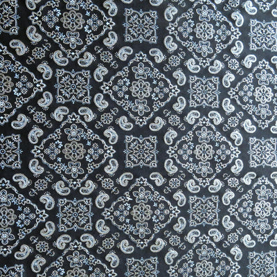 Bandana Foil on Black Nylon Spandex Swimsuit Fabric