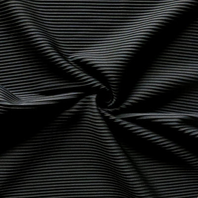 Black Beyond Pintuck Poly Lycra Knit Fabric