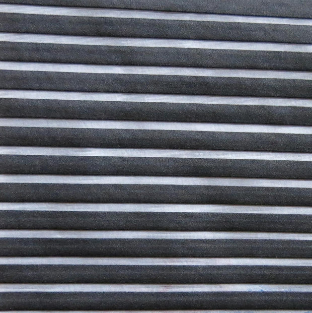 Black Beyond Lycra Mesh Stripe Fabric