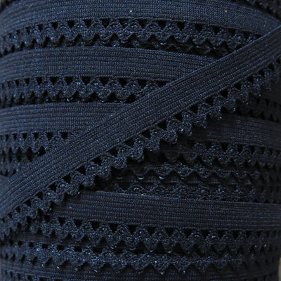 "Black 1/2"" Picot Decorative Elastic Trim"
