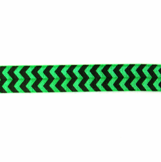Black Chevron on Emerald Green Fold Over Elastic Trim