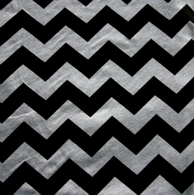 Black Chevrons on Heathered Grey Cotton Jersey Knit Fabric