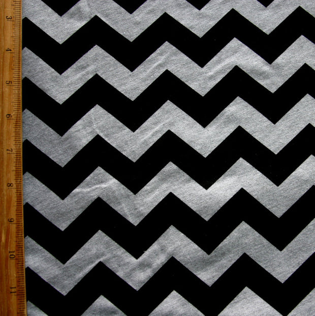 "Black Chevrons on Heathered Grey Cotton Jersey Knit Fabric - 33"" Remnant"
