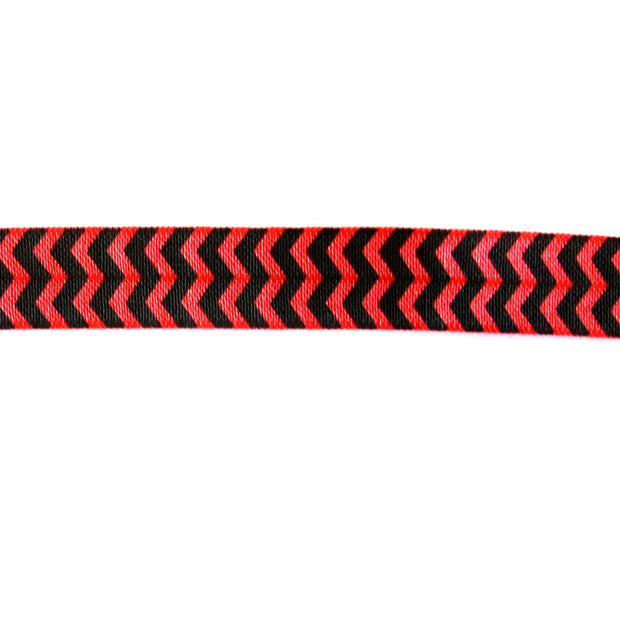 Black Chevron on Red Fold Over Elastic Trim