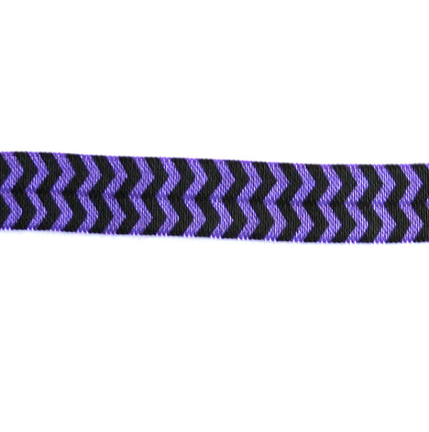 Black Chevron on Regal Purple Fold Over Elastic Trim