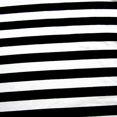 Black and Ivory Stripes Rayon Lycra Jersey Knit Fabric