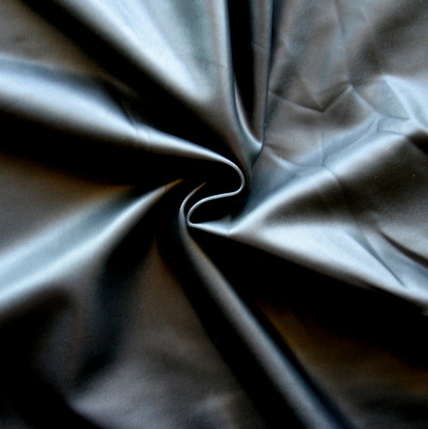 Shiny Black Faux Leather Nylon Lycra Swimsuit Fabric