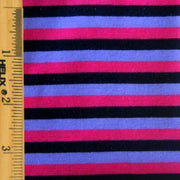"Black, Fuschia, Purple Stripes Cotton Lycra Knit Fabric - 34"" Remnant Piece"