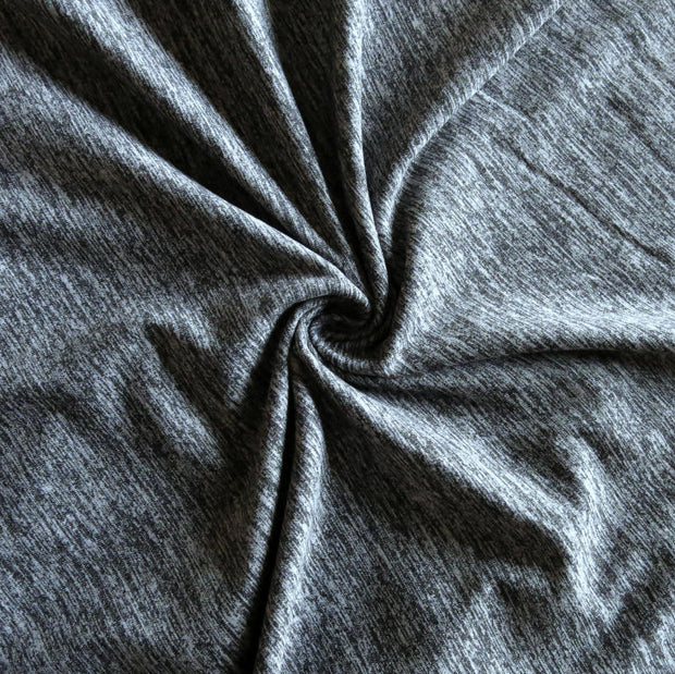 Black Heathered Marl Poly Lycra Jersey Knit Fabric