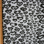 Black HJ Hearts on Light Grey Cotton Thermal Knit Fabric