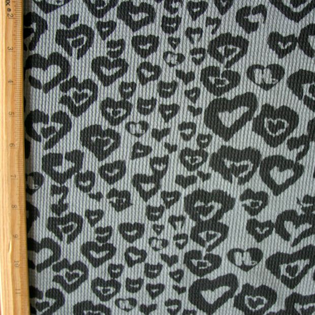 Black HJ Hearts on Dark Grey Cotton Thermal Knit Fabric