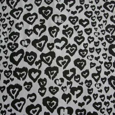 Black HJ Hearts on Light Grey Cotton Fleece Fabric