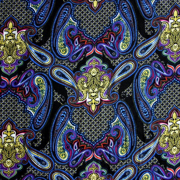 Black Magic Paisley Cotton Lycra Knit Fabric