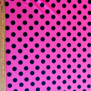 Black Polka Dots on Hot Pink Nylon Spandex Swimsuit Fabric