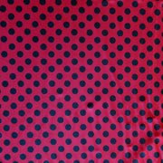 Black Polka Dots on Red Nylon Spandex Swimsuit Fabric