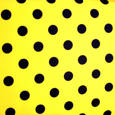 Black Polka Dots on Yellow Nylon Lycra Swimsuit Fabric