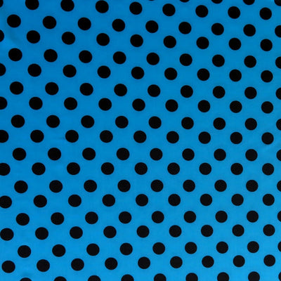 Black Polka Dots on Turquoise Blue Nylon Spandex Swimsuit Fabric