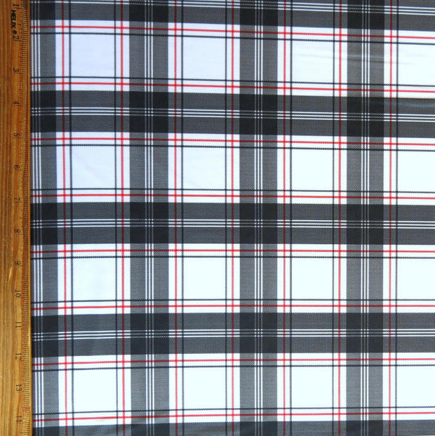 Black and Red Plaid on White Nylon Spandex Swimsuit Fabric