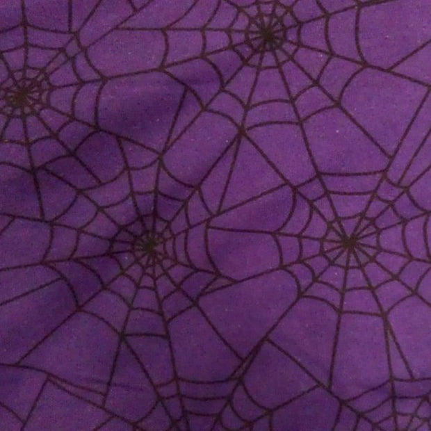 "Spiderwebs on Purple Cotton Lycra Knit Fabric - 22"" Remnant Piece"